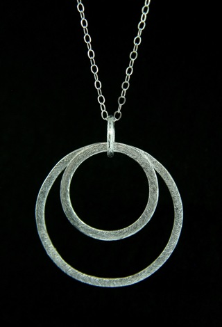 Brushed Silver Double Circle Necklace