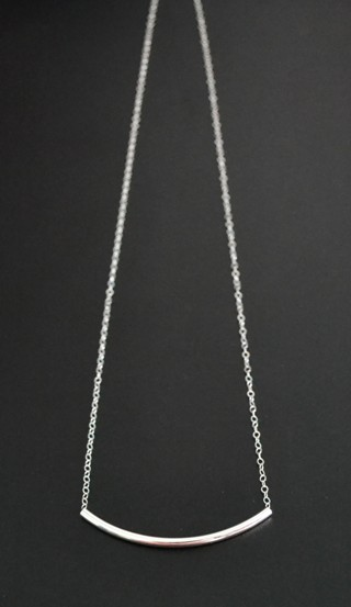 Silver Curved Bar Necklace