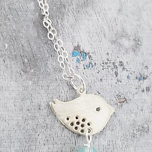 Silver Spotted Bird Pacific Opal Necklace