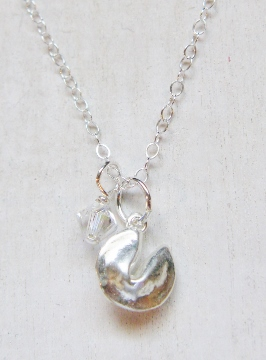 Lucky Fortune Cookie Necklace - Silver