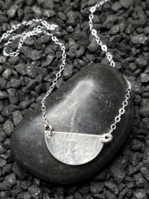 Silver Half Moon Hammered Necklace