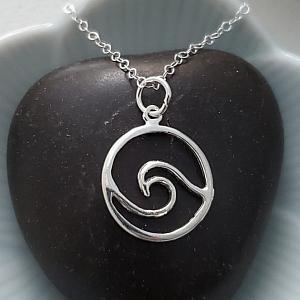 Silver Surfer Wave Necklace