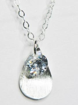CZ Petal Drops Necklace - Clear