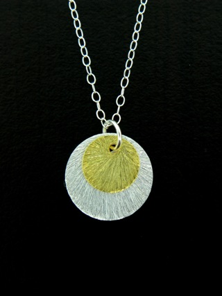 Two-Tone Disk Necklace - Gold/Silver