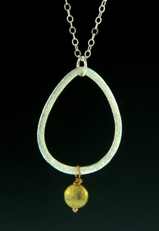 Two-Tone Teardrop Disk Necklace Gold/Silver
