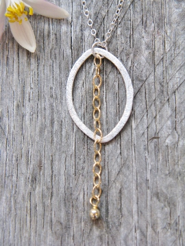 Two Tone Oval w/ Chain Necklace