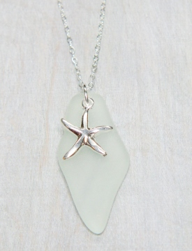 Starfish Cultured Sea Glass Shard Necklace - Sea Foam
