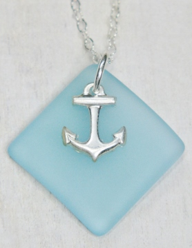 Eco Sea Glass Diamond Anchor Necklace - Turquoise
