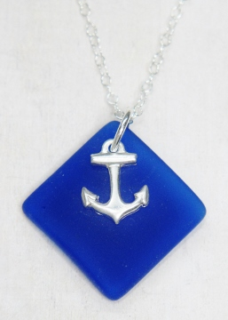 Eco Sea Glass Diamond Anchor Necklace - Cobalt Blue