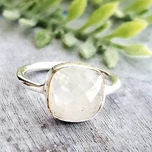 Rainbow Moonstone Cushion Ring in Sterling Silver
