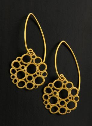 Gold Marquis Flat Bubbles Earrings