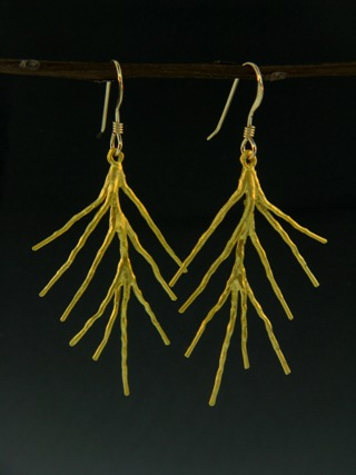 Gold Pine Needle Earrings