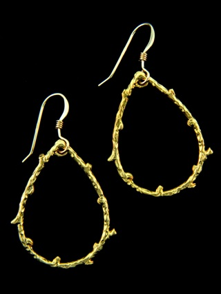 Gold Pear Vine Earrings