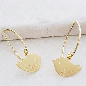 Gold Spotted Bird Marquis Earrings