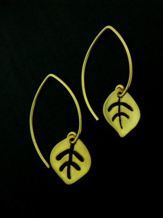 Gold Vermeil Marquis Leaf Earrings