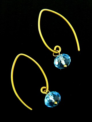 Gold Marquis Aqua Earrings