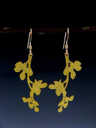 Gold Cherry Blossom Earrings