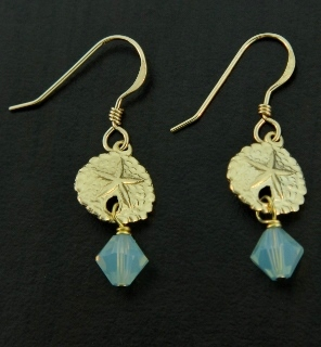 Gold Sand Dollar Earrings w/ Pacific Opal