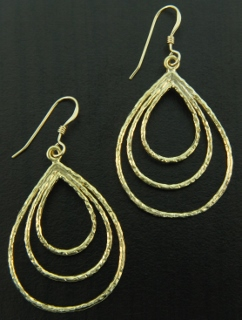 Gold Hammered Triple Oval Earrings