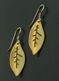 Gold Curled Leaf Earrings