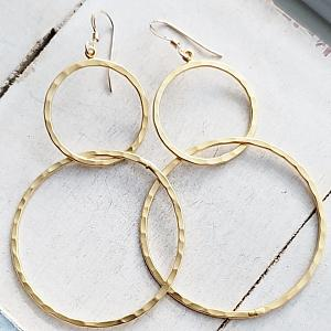 Gold Hammered Circle Hoops Earrings