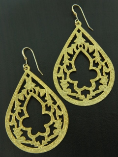 Matte Gold Oriental Motif Earrings