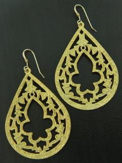 Matte Gold Oriental Motif Earrings