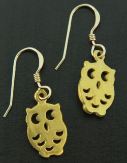 Gold Spotted Owl Earrings