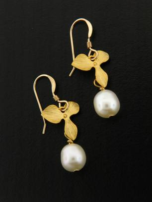 Gold White Pearl Orchid Earrings
