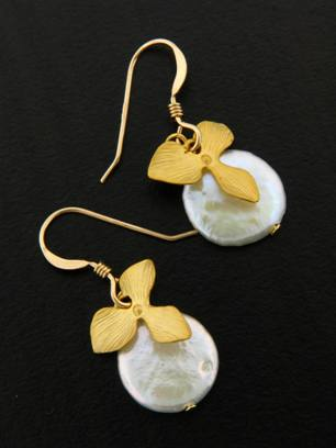 Gold Coin Pearl Orchid Earrings