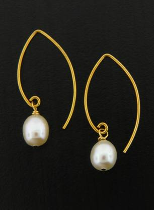 Gold Marquis White Pearl Earrings