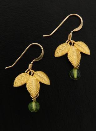 Gold Exotic Matte Leaf w/ Peridot Earrings