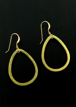 Gold Vermeil Brushed Teardrop Earrings