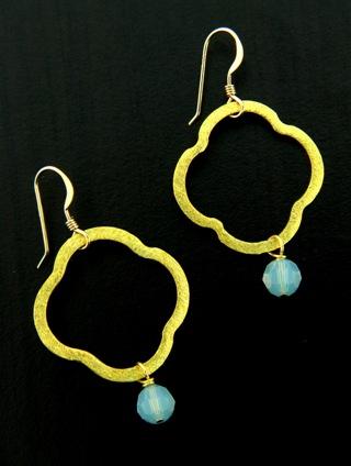Moroccan Gold Vermeil Pacific Opal Earrings