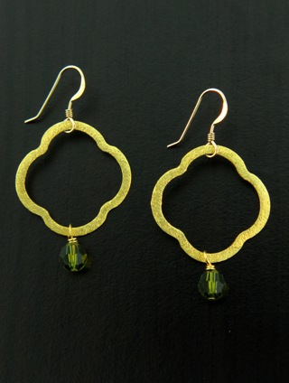 Moroccan Gold Vermeil Olivine Earrings