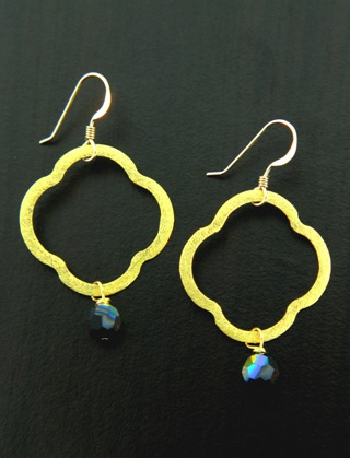 Moroccan Gold Vermeil Jet Black Earrings