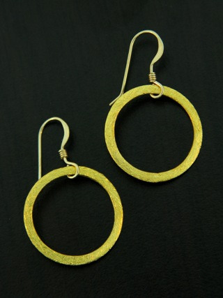 Gold Vermeil Brushed Circle Earrings