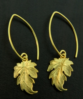 Gold Marquis Ivy Leaf Earrings
