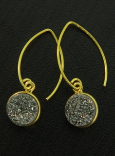 Gold Bezel Druzy Marquis Earrings - Grey