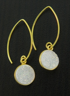 Gold Bezel Druzy Marquis Earrings - Rainbow White