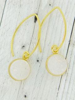 Gold Bezel Druzy Marquis Earrings - Rainbow White