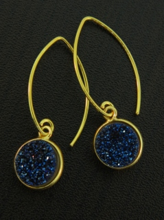 Gold Bezel Druzy Marquis Earrings - Blue