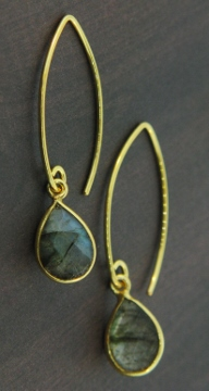 Vermeil Marquis Labradorite Teardrop Earrings