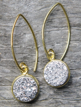 Gold Bezel Druzy Marquis Earrings - Silver