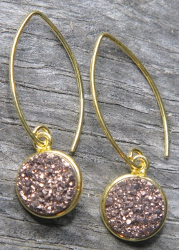 Gold Bezel Druzy Marquis Earrings - Copper