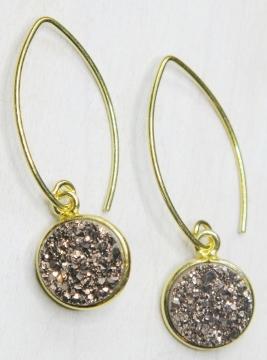 Gold Bezel Druzy Marquis Earrings - Copper