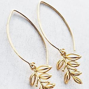 Vermeil Marquis Blossom Leaf Earrings