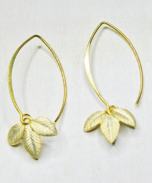 Vermeil Marquis Exotic Leaf Earrings
