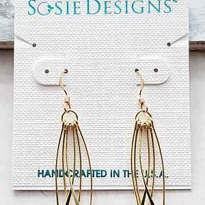 Vermeil Curved Fringe Tassel Earrings
