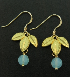Gold Exotic Matte Leaf w/ Pacific Opal Earrings